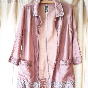 Vintage Embroidered Rose Pink Duster Coat Silk M